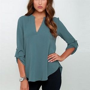 Tops - Sexy Women V-neck Solid Chiffon Blouse - Green